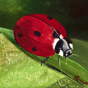 Lady Bug - Red Vibrations original watercolor by Caroline Linscott