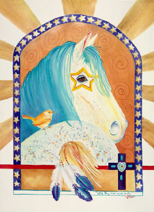 Wild Pony Star Wants to Fly Original Watercolor by Caroline Linscott